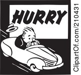 210431-Retro-Black-And-White-Man-Driving-On-A-Hurry-Advertisement-Poster-Art-Print